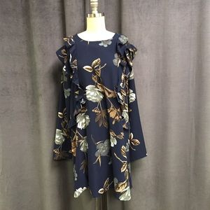 Umgee Floral Ruffle dress L Navy Long Sleeve Boho